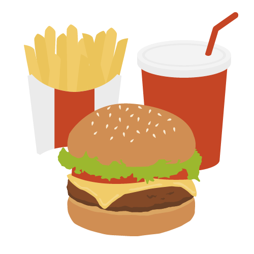ハンバーガーセットの無料アイコン・イラスト素材