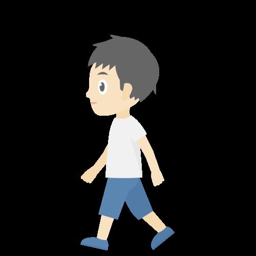 人物(歩いている男の子)のアイコン・イラスト