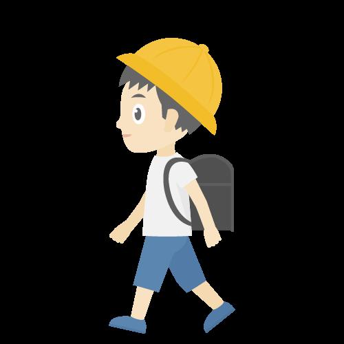 人物(通学中の男の子)の無料アイコン・イラスト素材