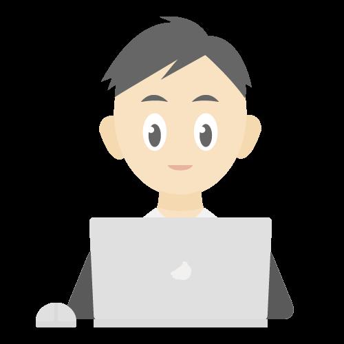 パソコンを使っている男性の無料アイコン・イラスト素材