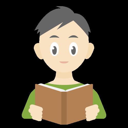 人物(本を読んでいる男性)の無料アイコン・イラスト素材