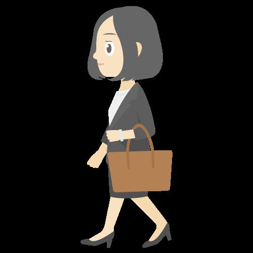 人物(通勤中の女性)の無料アイコン・イラスト素材