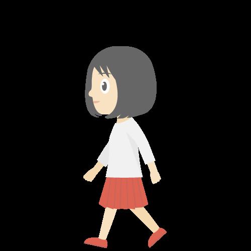 人物(歩いている女の子)の無料アイコン・イラスト素材