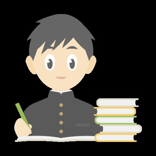 人物(勉強している男子学生)の無料アイコン・イラスト素材
