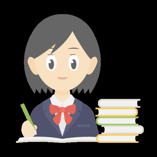 人物(勉強している女子学生)の無料アイコン・イラスト素材