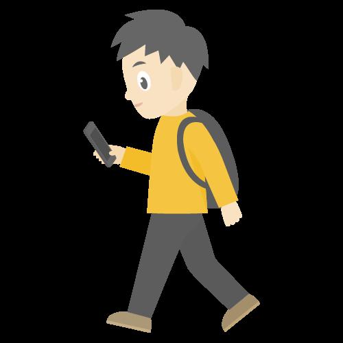 人物(歩きスマホしている男性)のアイコン・イラスト