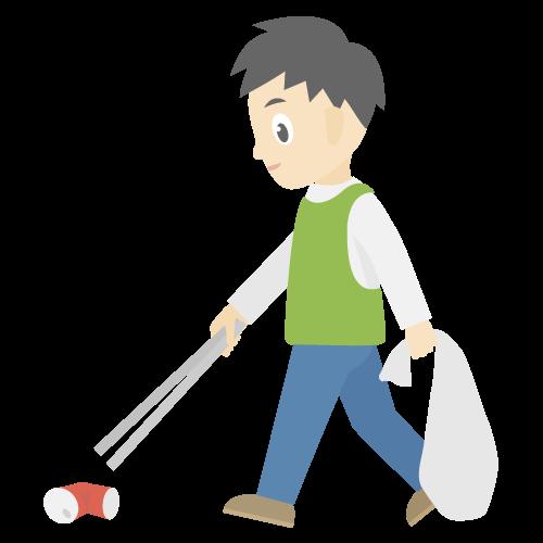 人物(ゴミ拾いしている男性)の無料アイコン・イラスト素材