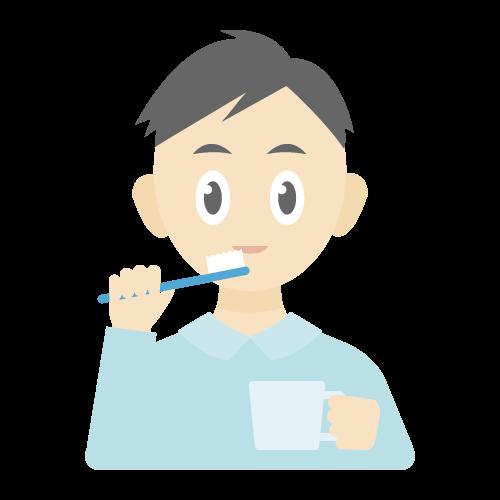 人物(歯磨きしている男性)の無料アイコン・イラスト素材