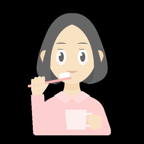 人物(歯磨きしている女性)の無料アイコン・イラスト素材