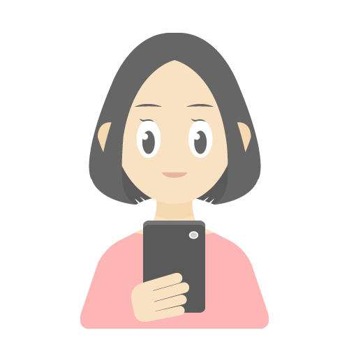 人物(スマホを使っている女性)の無料アイコン・イラスト素材