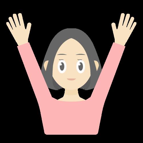 人物(万歳している女性)の無料アイコン・イラスト素材