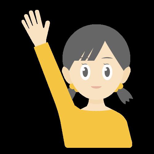 人物(挙手している女の子)の無料アイコン・イラスト素材